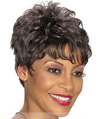 Inch Fantastic Short Curly Brown African American Wigs for Women
