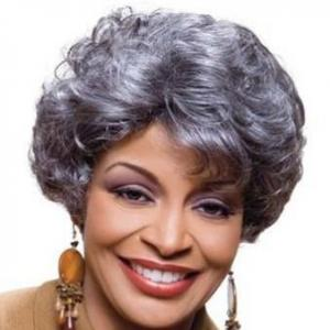 ... Inch Glitter Short Curly Gray African American Lace Wigs for Women