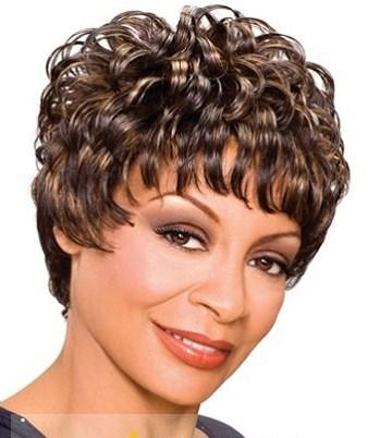 Inch Grand Short Curly Brown African American Wigs for Women