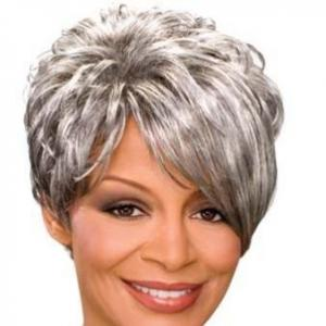 Inch Marvelous Short Curly Gray African American Lace Wigs for Women ...