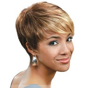 ... Style Short Straight Blonde Full Bang African American Wigs for Women