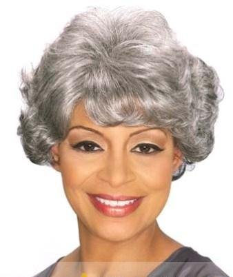 Inch Personalized Short Curly Gray African American Wigs for Women ...