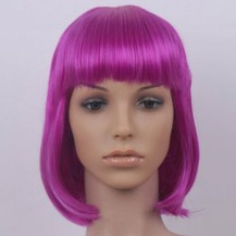 8 Inch Straight Short Synthetic Hair Wigs Lila