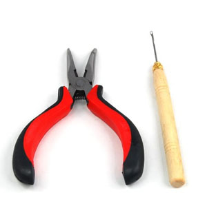 A Straight Plier and A Needle for Human Hair Extensions