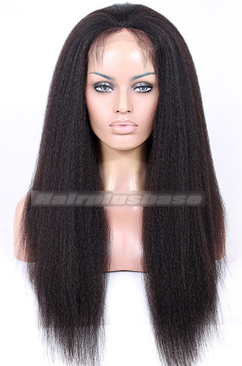 22 Inch Kinky Straight Brazilian Virgin Hair Full Lace Wigs