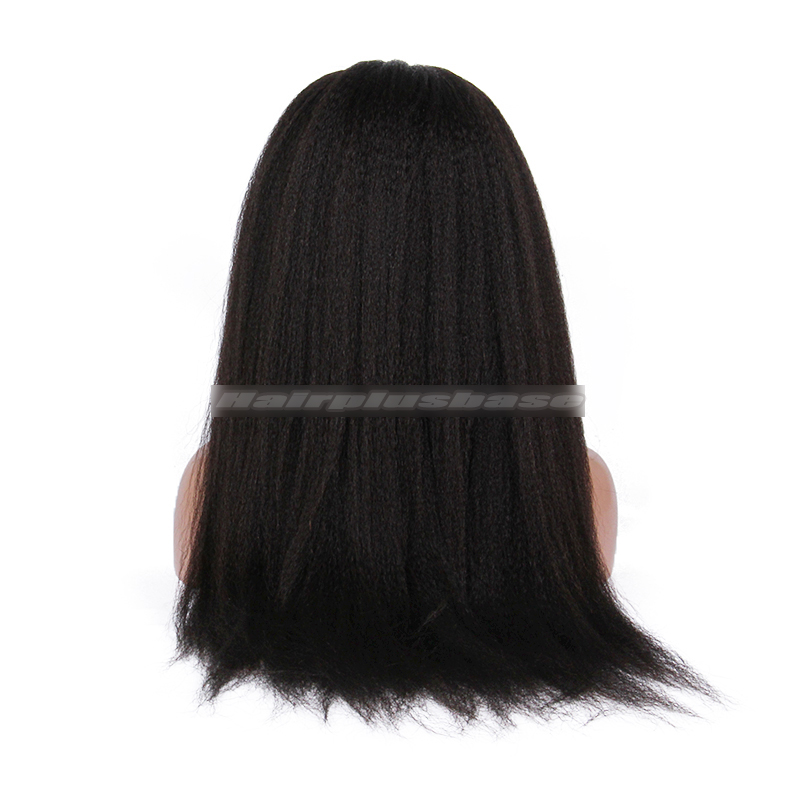 24inches Brazilian Virgin Hair Glueless Silk Top Lace Front Wigs Kinky Straight