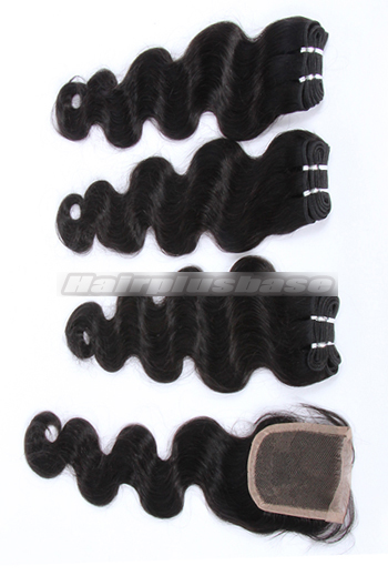 10-24 Inch Body Wave Brazilian Virgin Hair Weave 3 Bundles with A Lace Closure Deal