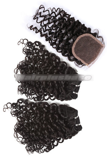 10-24 Inch Brazilian Virgin Hair Weave Candy Curl A Lace Closure with 2 Bundles Deal