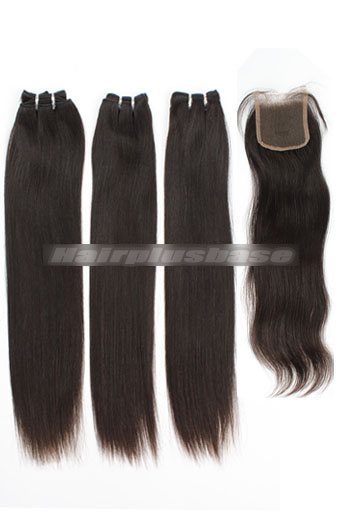 10-24 Inch Silky Straight Brazilian Virgin Hair Weave 3 Bundles with A Lace Closure Deal