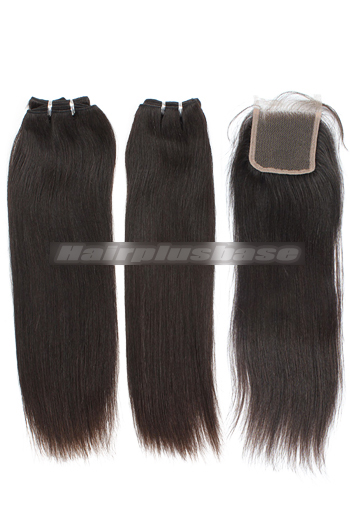 10-24 Inch Silky Straight Brazilian Virgin Hair Weave A Lace Closure with 2 Bundles Deal