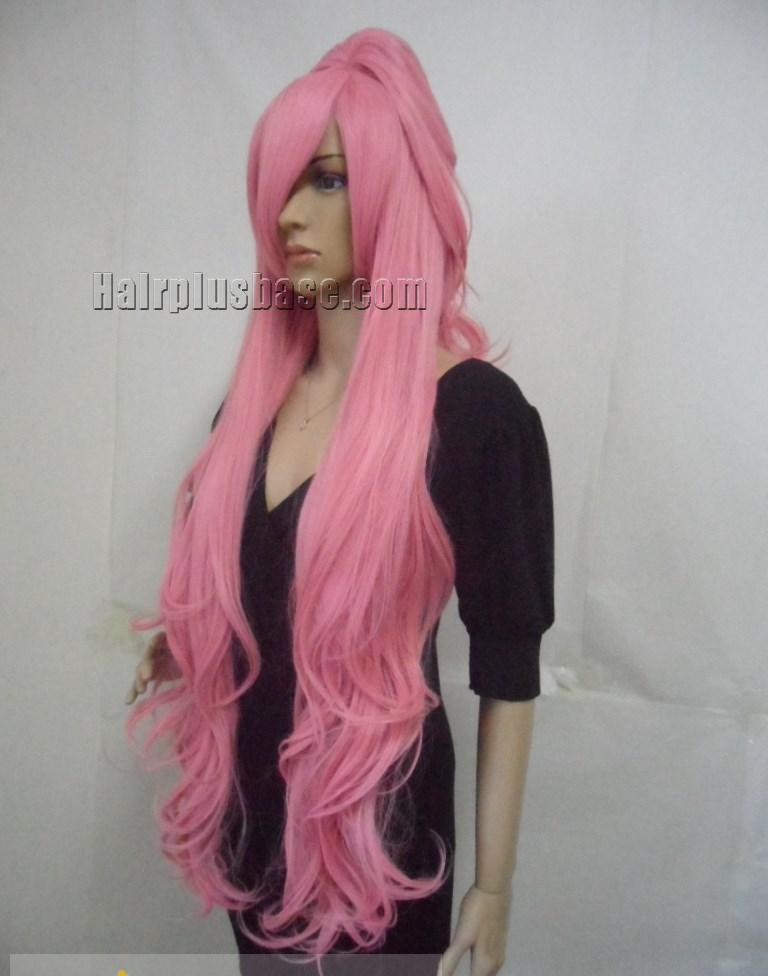 Capless Long Synthetic Hair Pink Wavy / Curly Cheap ...