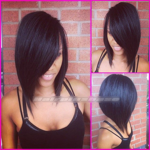Charming Side Swept Bangs Bob Cut Human Hair Glueless Lace Wigs