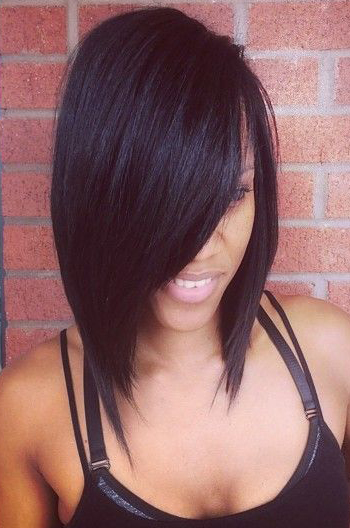 Yaki Straight Charming Side Swept Bangs Bob Cut Indian Remy Hair Glueless Lace Front Wigs