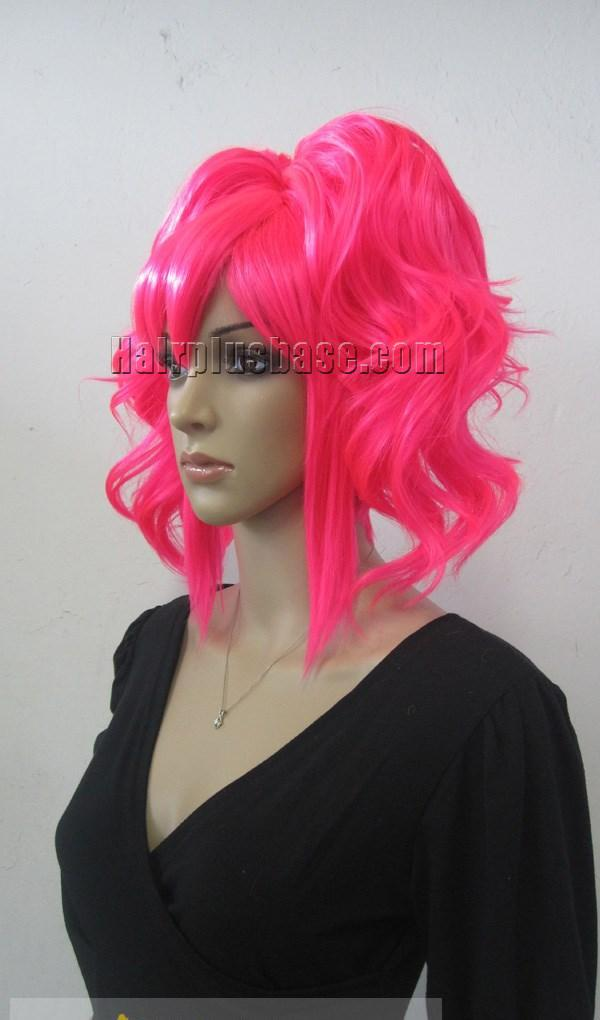 Cheap Asian Capless Long Synthetic Hair Pink Wavy Curly