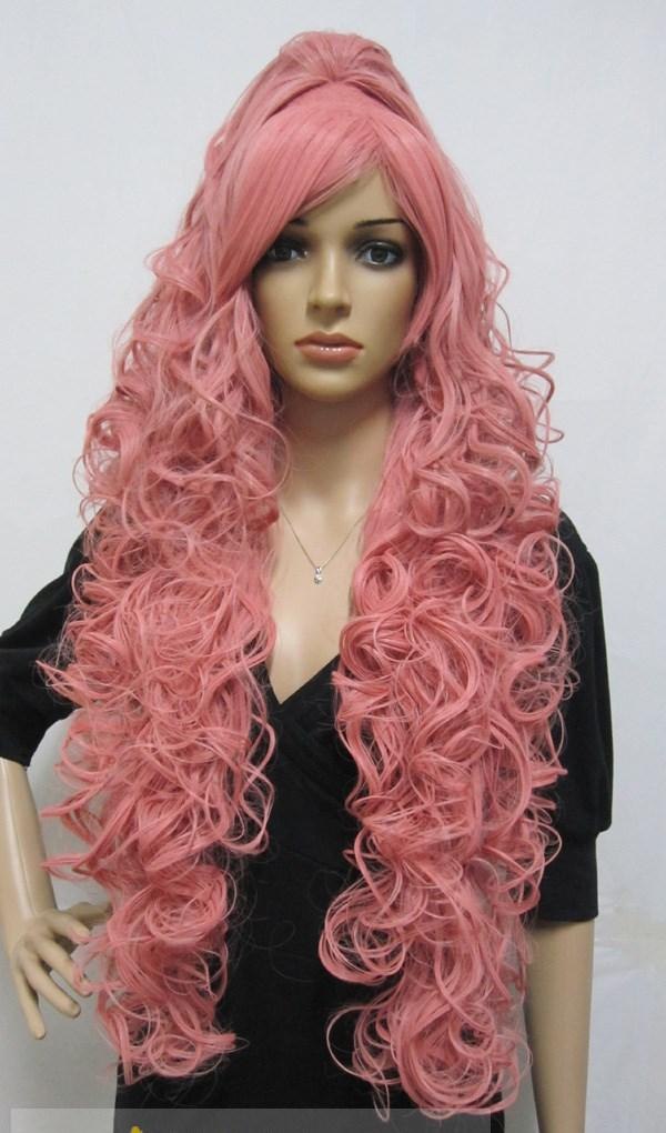Cheap Capless Long Synthetic Hair Pink Wavy / Curly Cheap Cosplay Wigs ...