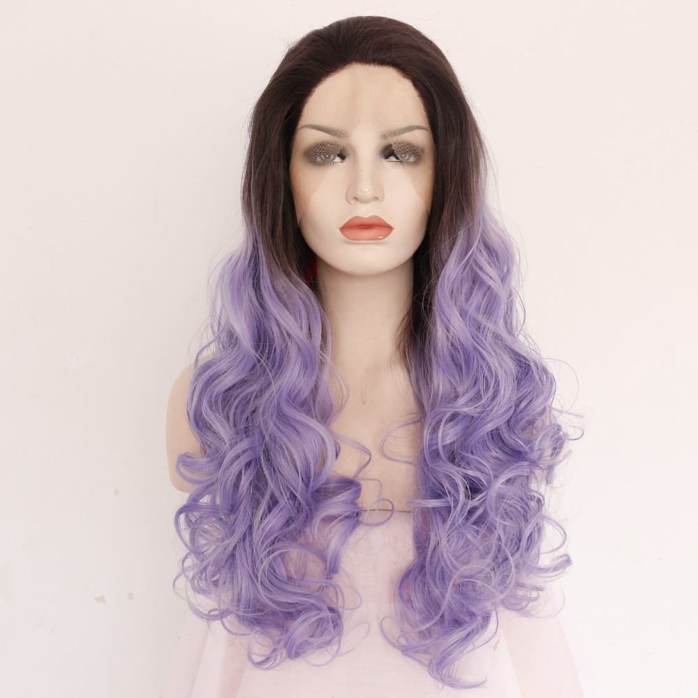 Fashion Ombre Purple Seamless Body Wavy Synthetic Lace Front Wigs