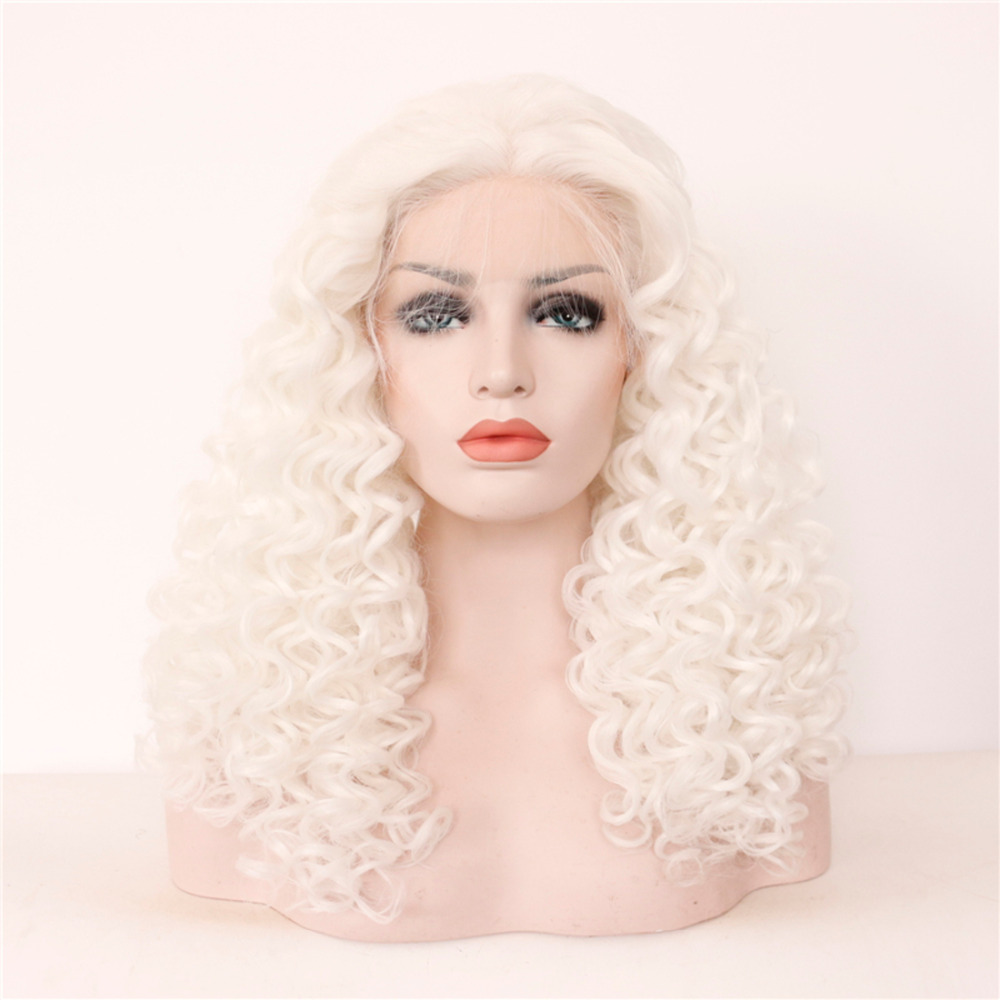 Fashionable Middle Parting Curly Lace Front Wigs with Heat Resistant Fiber
