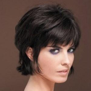 Fresh Cool Short Black Wig with eyebrow-length Full Bang