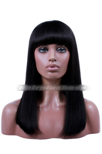 {10-15 business days processing time} Yaki Straight Indian Remy Hair Full Bangs Glueless Wigs With Natural Looking Silk Top Hair Whorl