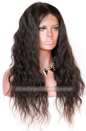 22 Inch Brazilian Virgin Hair Natural Wave Glueless Lace Front Wigs