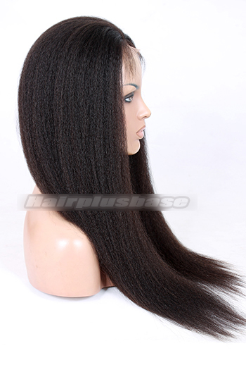 22 Inch Kinky Straight Chinese Virgin Hair Glueless Lace Front Wigs