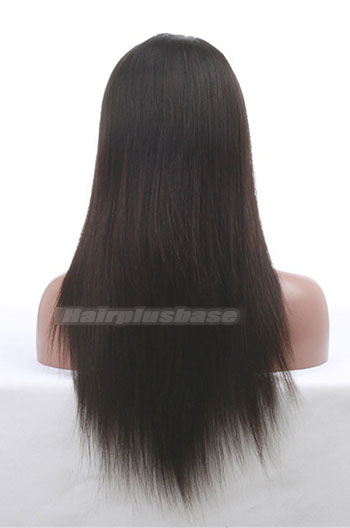 16 Inch Light Yaki Chinese Virgin Hair Glueless Lace Front Wigs
