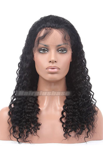Fashion Deep Wave Indian Remy Hair Glueless Lace Front Wigs