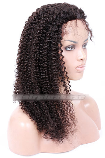 20 Inch Kinky Curl Indian Remy Hair Glueless Lace Front Wigs