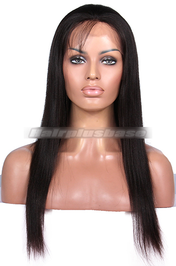 Chic Light Yaki Indian Remy Hair Glueless Lace Front Wigs