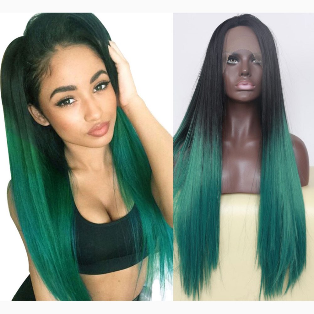 Glueless Natural Straight Ombre Green Lace Front Wig