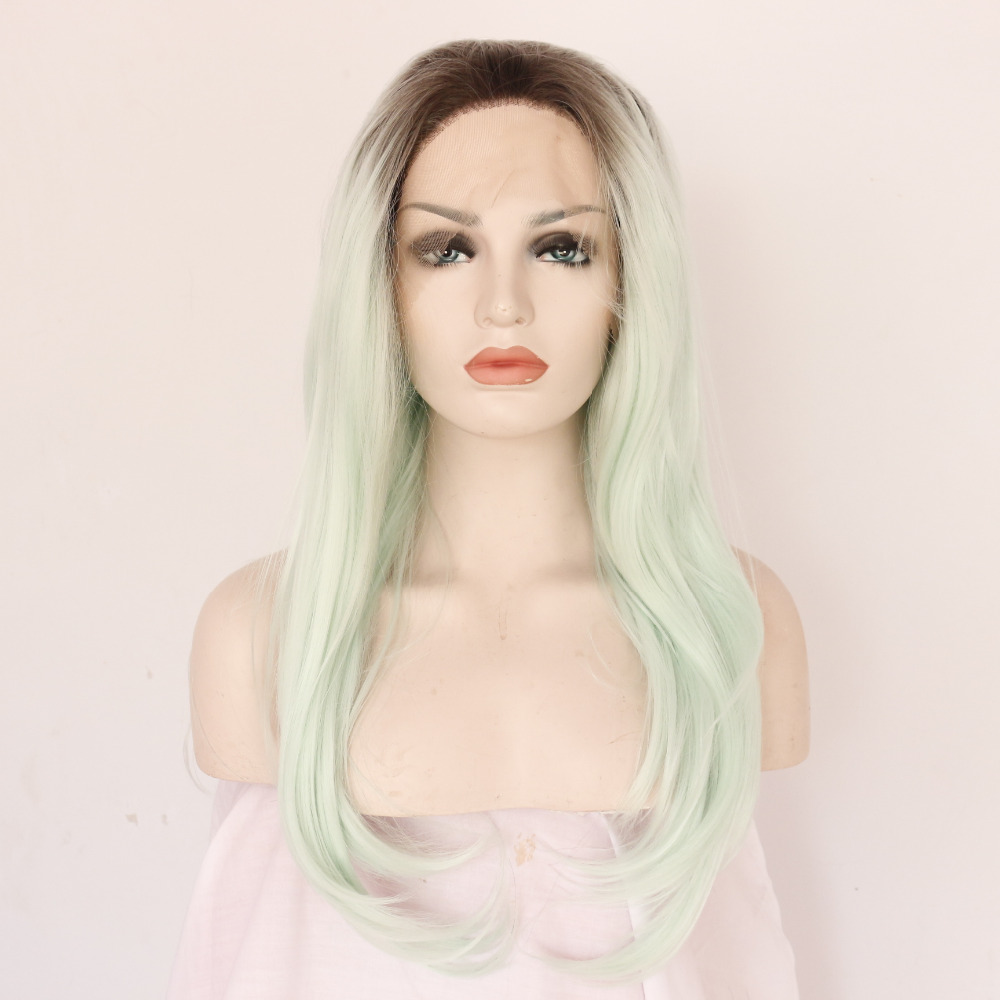 Glueless Ombre Mint Green Straight Synthetic Lace Front Wig