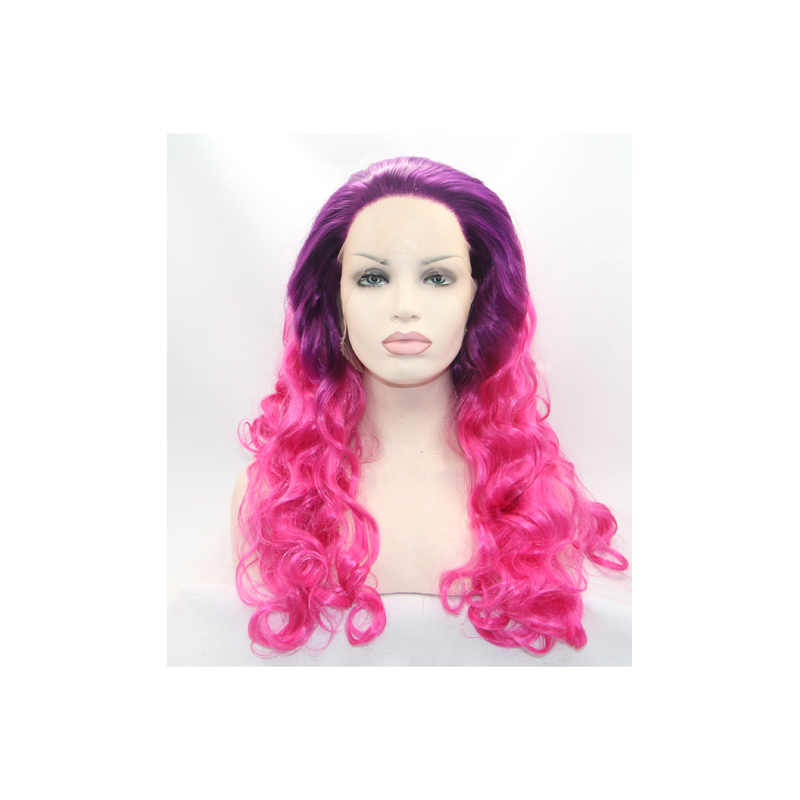 Handmade Black To Rose Ombre Body Wave  Lace Front Wig