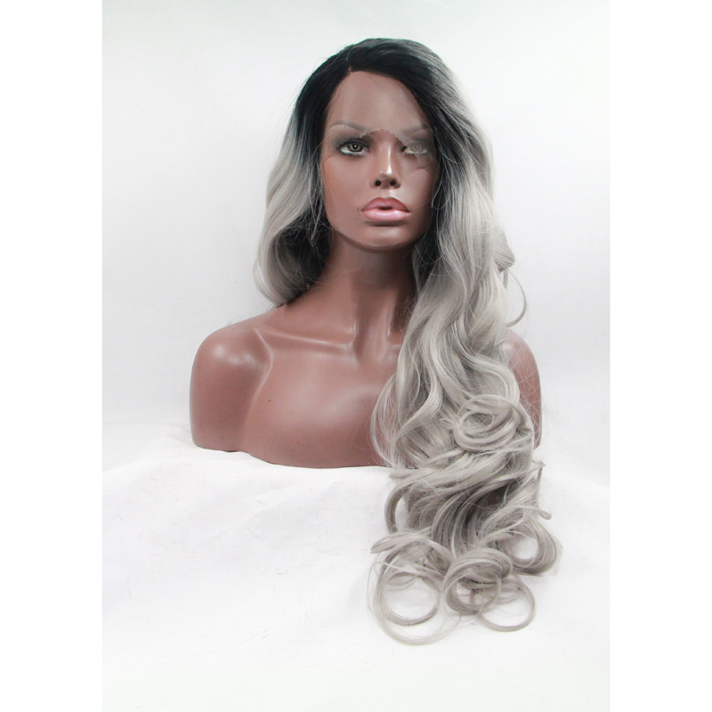 Handmade Dark Roots Silver Grey Body Wave Lace Front Wig