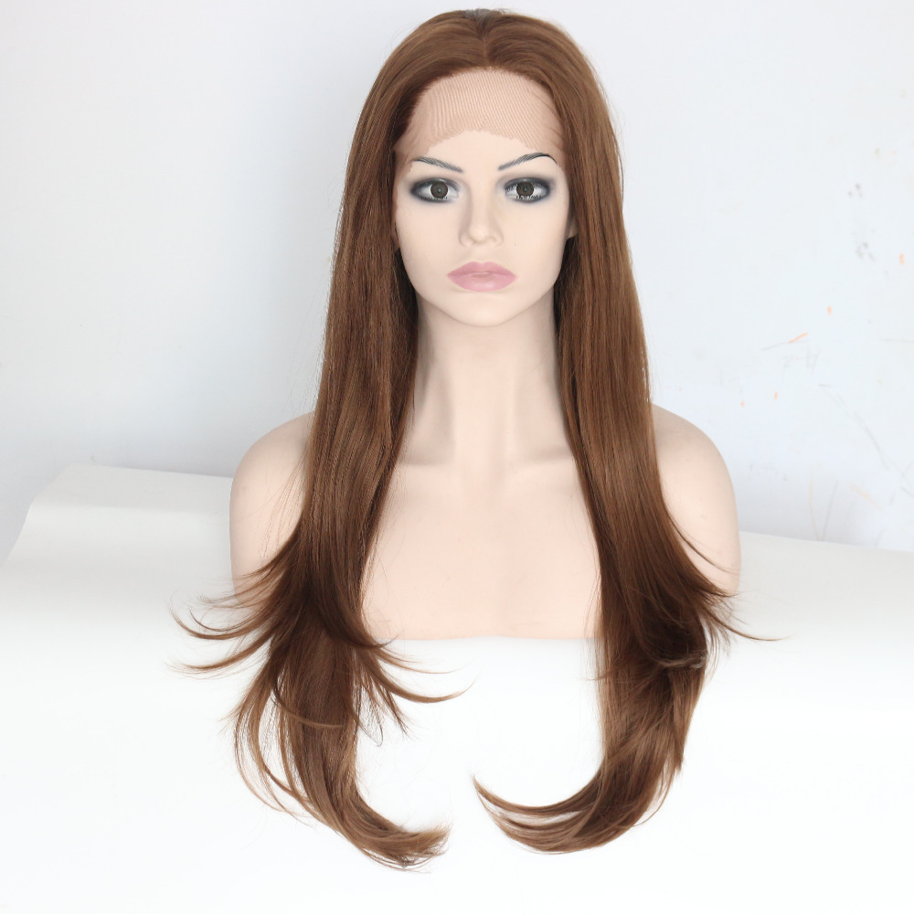 Handmade Long Straight Brown Synthetic Lace Front Wig