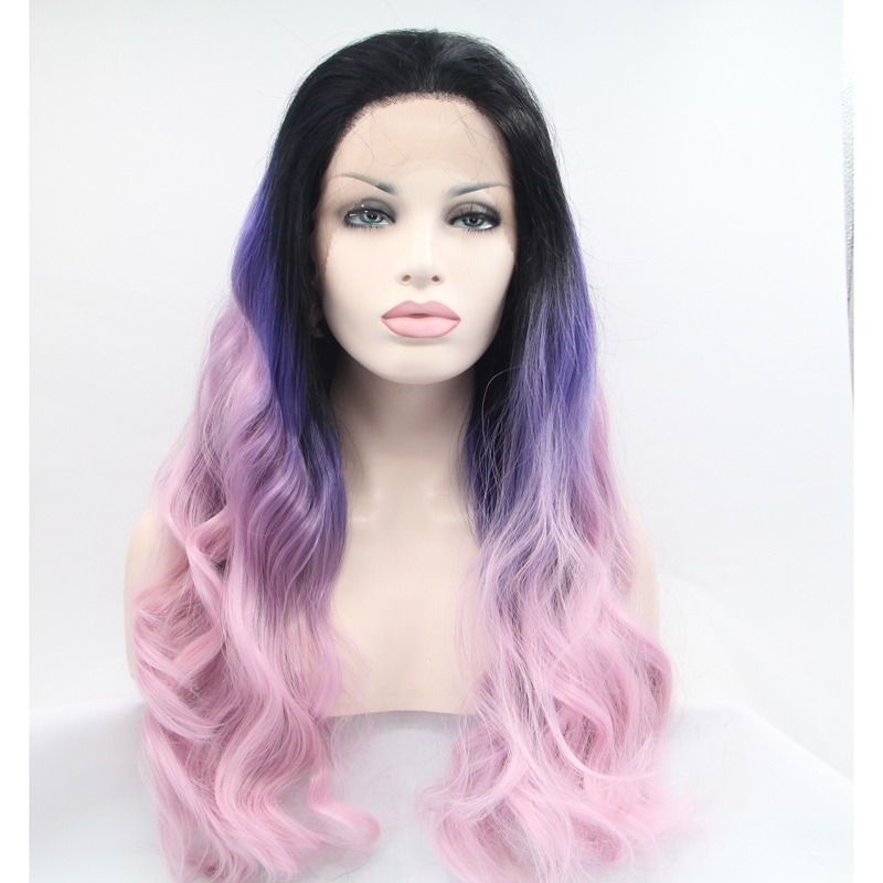 Handmade Long Three Color Ombre Wave Lace Front Wigs