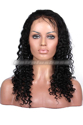 Deep Curl Indian Remy Human Hair Glueless Full Lace Wigs