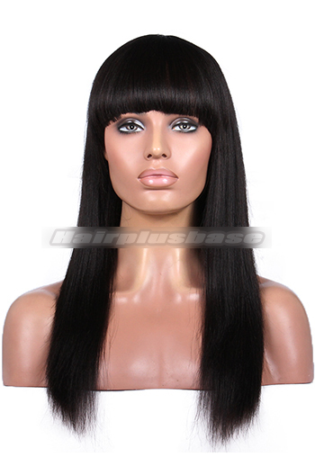 16 Inch Yaki Straight Indian Remy Hair Full Bangs Glueless Wigs With Natural Looking Silk Top Hair Whorl {10-15 business days processing time}