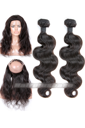 Body Wave Indian Virgin Hair 360°Circular Lace Frontal with 2 Weaves Bundles Deal