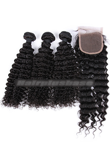 10-26 Inch Deep Wave Indian Virgin Human Hair A Lace Closure With 3 Bundles Deal