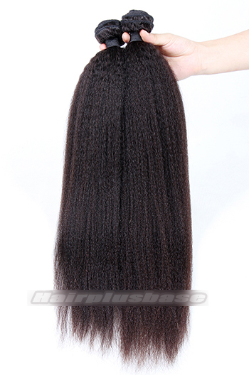 Indian Virgin Hair Kinky Straight 360°Circular Lace Frontal with 2 Weaves Bundles Deal
