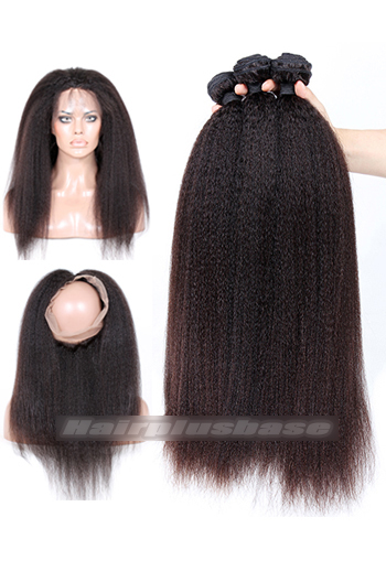 Kinky Straight Indian Virgin Hair 360°Circular Lace Frontal with 3 Weaves Bundles Deal