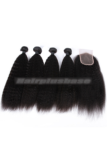 10-26 Inch Kinky Straight Virgin Indian Human Hair Extension A Lace Closure With 4 Bundles Deal