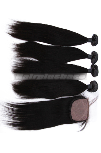 10-26 Inch Straight Virgin Indian Human Hair Extension A Silk Top Closure With 4 Bundles Deal