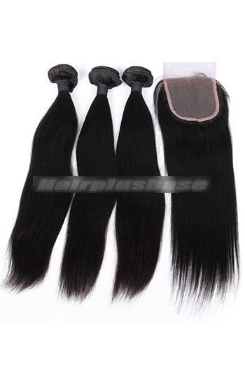 10-26 Inch Straight Indian Virgin Human Hair A Lace Closure With 3 Bundles Deal
