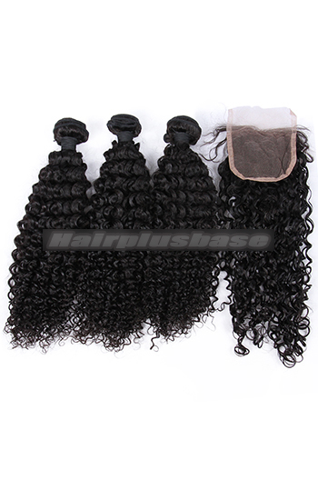 10-26 Inch Water Wave Indian Virgin Human Hair A Lace Closure With 3 Bundles Deal