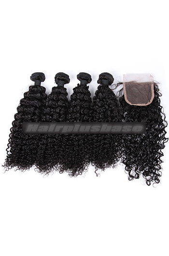 10-26 Inch Water Wave Virgin Indian Human Hair Extension A Lace Closure With 4 Bundles Deal