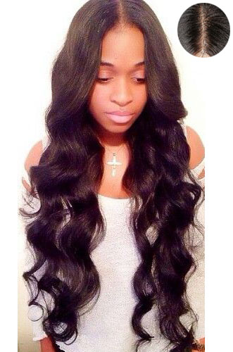Loose Wavy Indian Remy Hair Middle Part Lace Front Wigs{Custom Wig Production Time 7-10 working days}