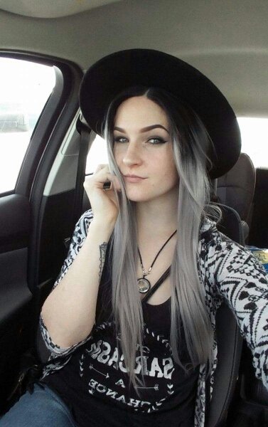 Two Tones Ombre Lace Front Wig with Black to Gray Gradient Heat Resistant Hair 05