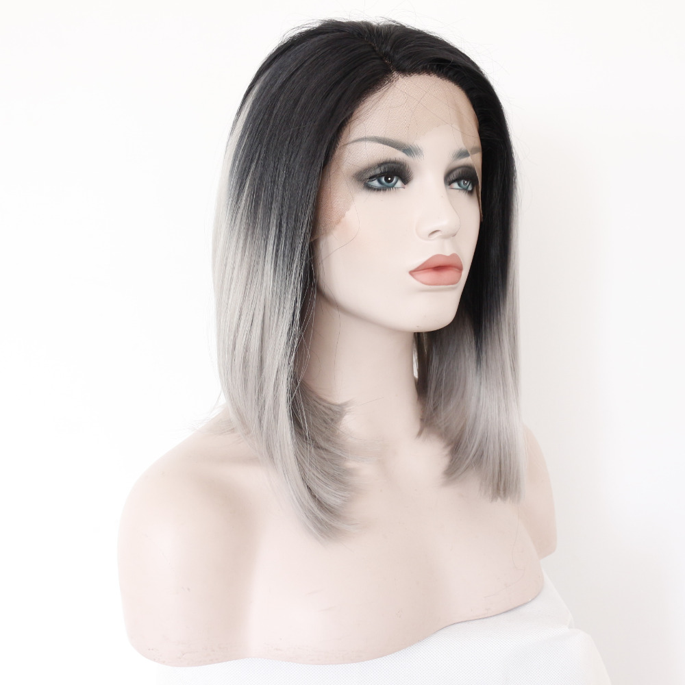 Medium Long Black to Gray Ombre Front Lace Bob Wig for Women