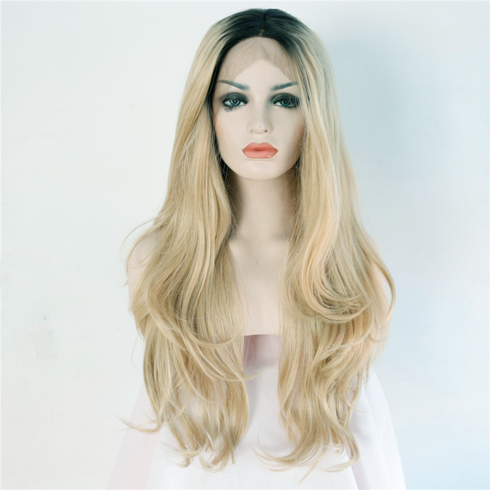 Natural Wavy Ombre Synthetic Lace Front Wig for Women